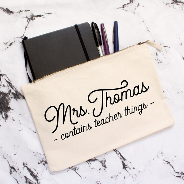 Personalised 'Teacher Things' Pencil Case