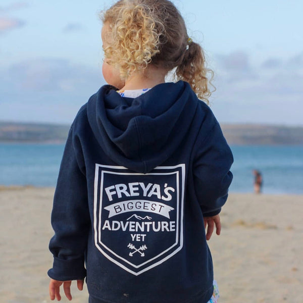 Personalised Biggest Adventure Yet Zip Up Hoody