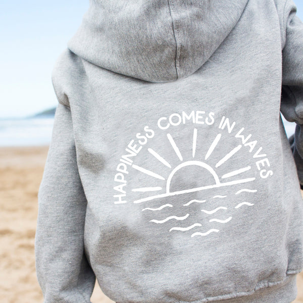 Happiness Comes in Waves Slogan Hoody