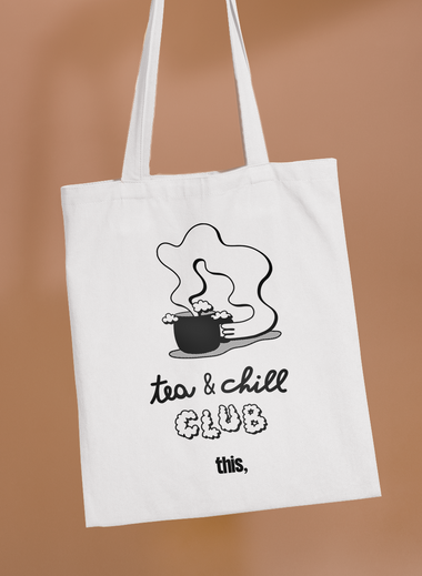 tote bag autumn tea and chill