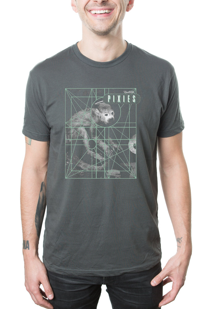 Pixies Monkey Grid Tee Charcoal