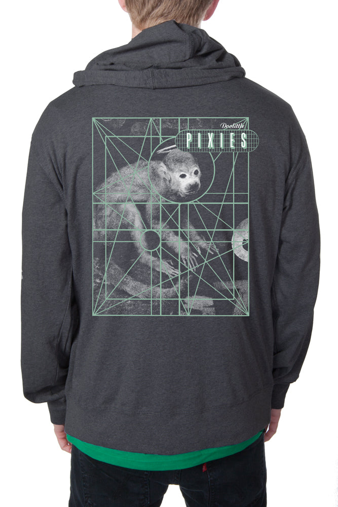 976bf064 Pixies Monkey Grid Zip Hoodie Heather Charcoal