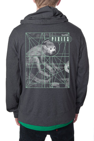 Pixies Monkey Grid Zip Hoodie Heather Charcoal