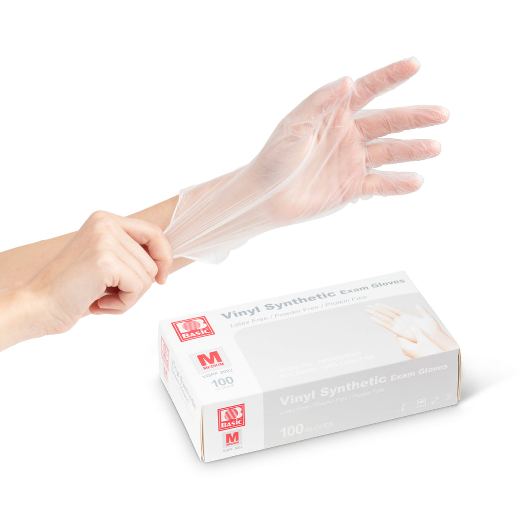 Vinyl Exam Gloves (Powder Free) (Box of 100)