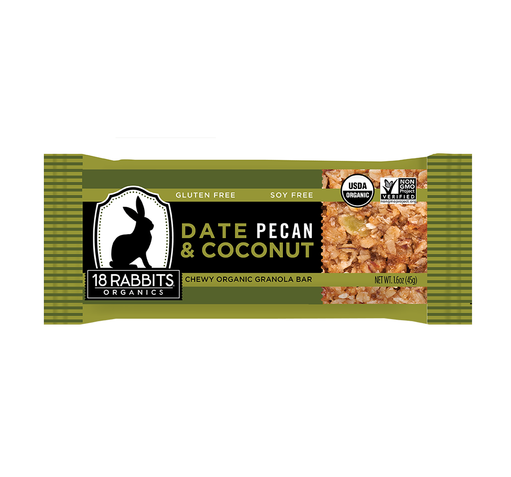 Date, Pecan & Coconut, organic granola bar 1.6 oz, 12/pack