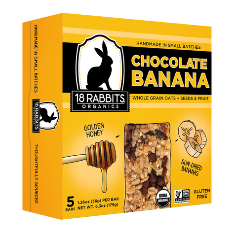 Chocolate Banana, organic granola bar 1.26 oz (5/pack)