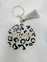 Load image into Gallery viewer, Round Acrylic Keychain - Leopard Print  with Name