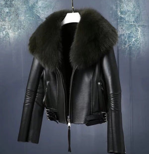 """Main Squeeze"" Leather Jacket with Raccoon  Fur Collar"