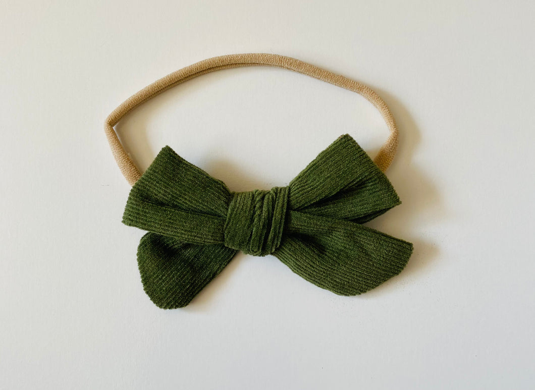 Olive Green Corduroy Bow