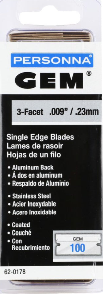 GEM Coated Stainless Steel Single-Edge Razor Blades (pack of 100)