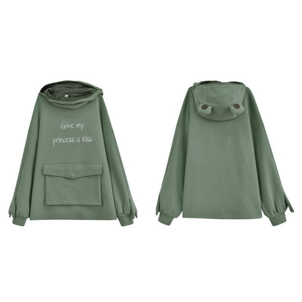 GIVE MY PRINCESS A KISS Frog Zipper Pocket Oversized Hoodie