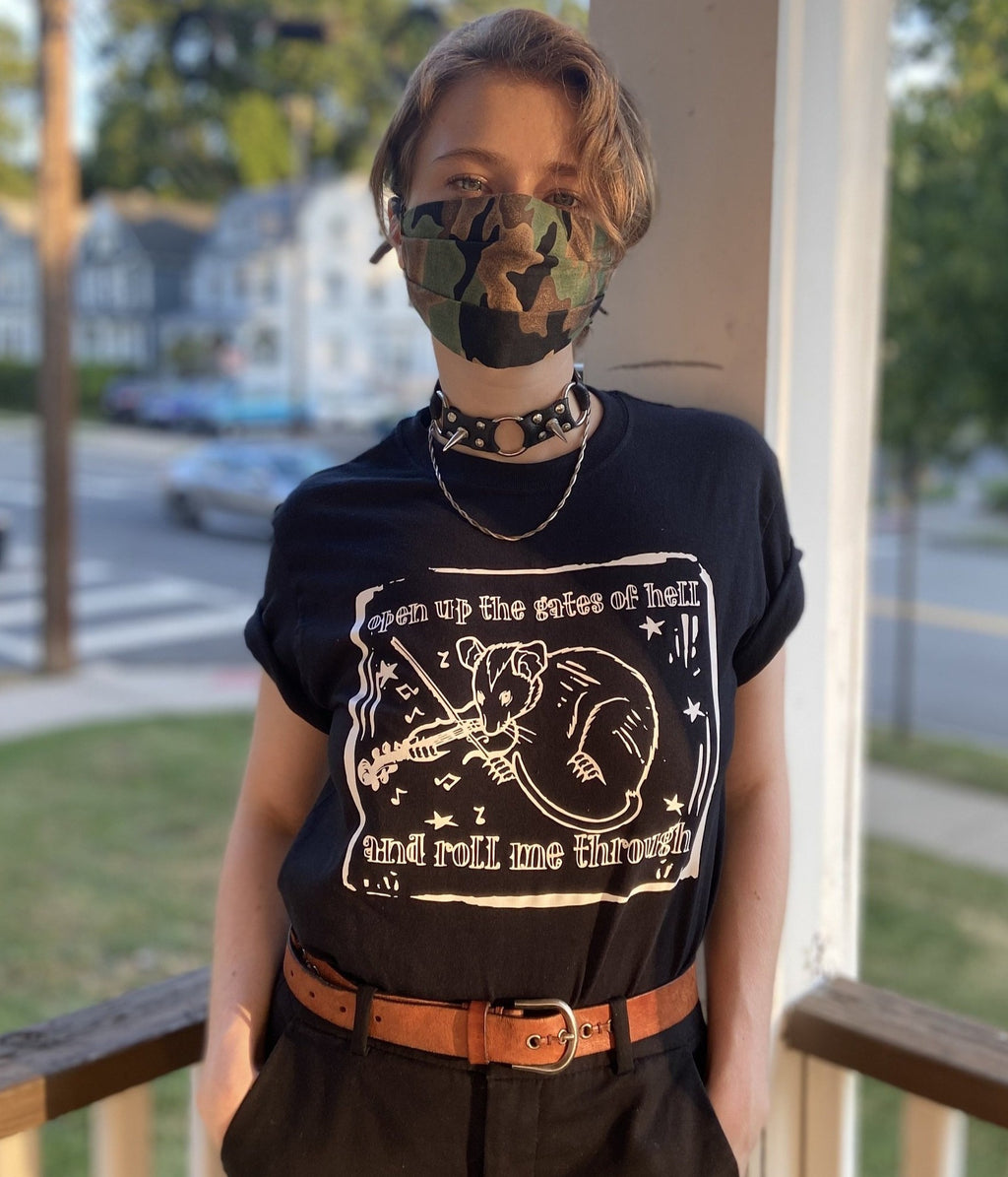 "Folk Punk Possum ""Roll Me Through the Gates of Hell"" tee"