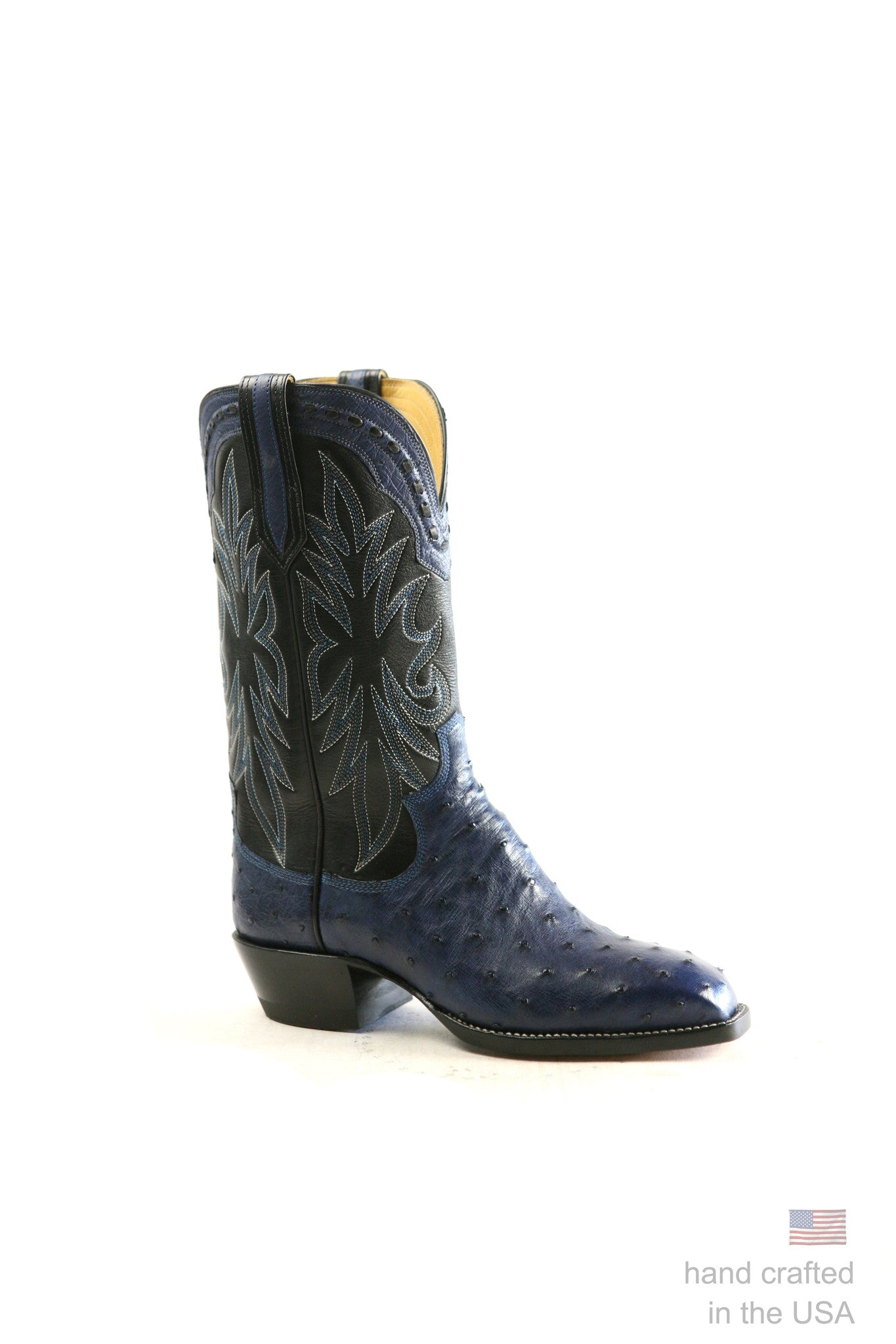 Blue Ostrich Cowboy Boots; Size 8 D SOLD OUT