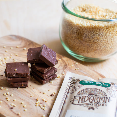 chocolate subscription box - limited edition quinoa crispies and caramelized coconut mylk and sugar