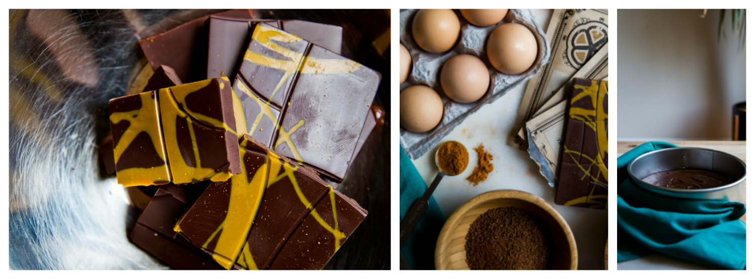 Madras Curry Chocolate Cake Ingredients (Eggs, Madras Curry Coconut Mylk Bar, Curry Powder, Almond Meal)