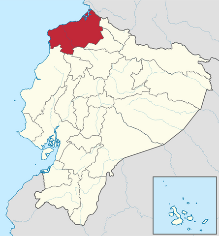 Costa Esmeraldas region on a map of Ecuador