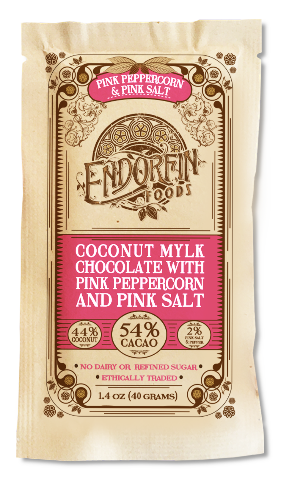 Pink Peppercorn & Pink Salt • Coconut Mylk Chocolate Bar • 54% Cacao
