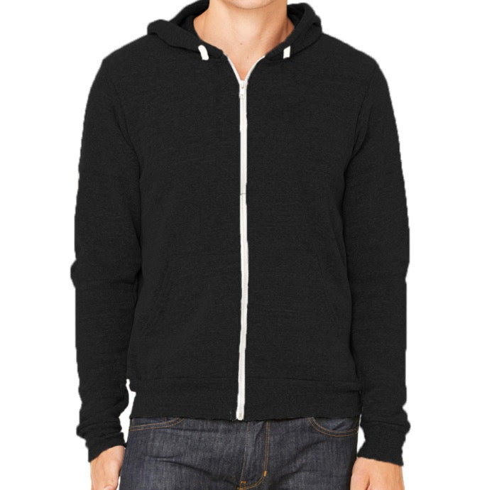 Organic Tri-Blend Fleece Lined Zip Hoodie