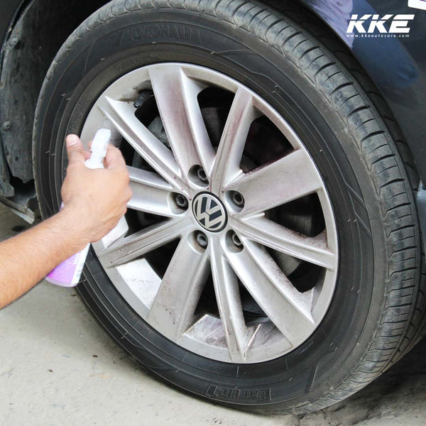 Apply Fall remover on the wheel rims