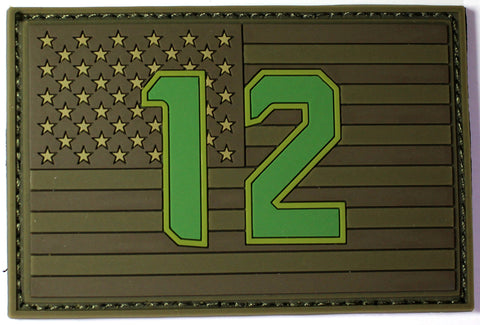 "12th  Flag  2""x3"" USA Flag Military PVC Patch Subdued for Fans of Seattle Seahawks"