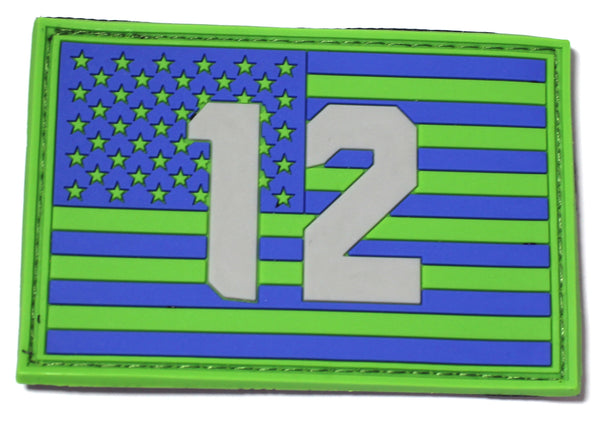 12th Flag PVC Patch for fans of Seattle Seahawks