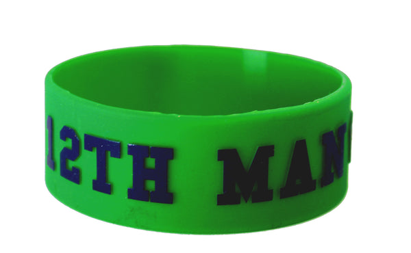 12th Man 1 inch Silicone Wristband Silver or Green
