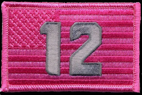 "12th Flag  2""x3"" USA Flag Patch show support for Breast Cancer Awareness & Seattle Seahawks"