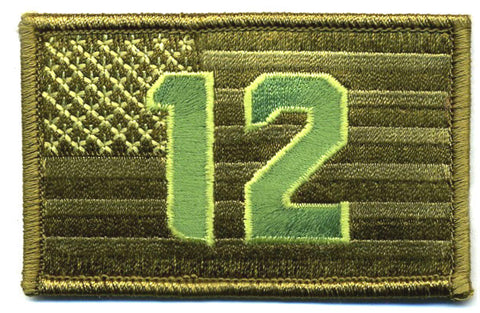 "12th  Flag  2""x3"" USA Flag Military Patch Subdued for Fans of Seattle Seahawks"