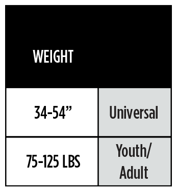 SIZE GUIDE - YOUTH, UNIVERSAL-125LBS