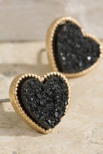 Load image into Gallery viewer, Druzy Heart Earrings