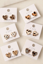 Load image into Gallery viewer, Animal Print Heart Earrings