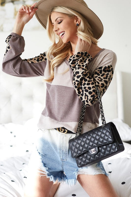Leopard Block Knit