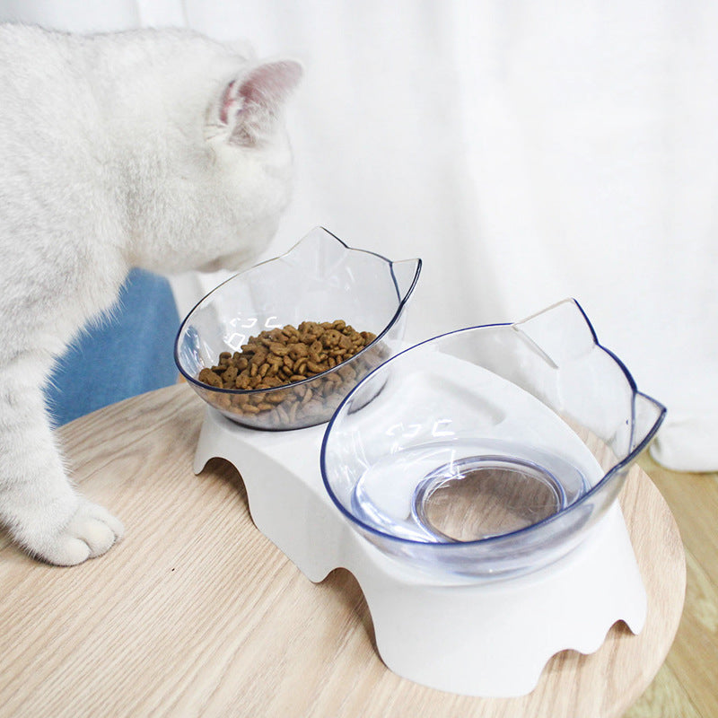 15 Degree Raised Pet Bowls Cats Food Water Feeder Plastic Tilted Elevated Bowl for Pets Care