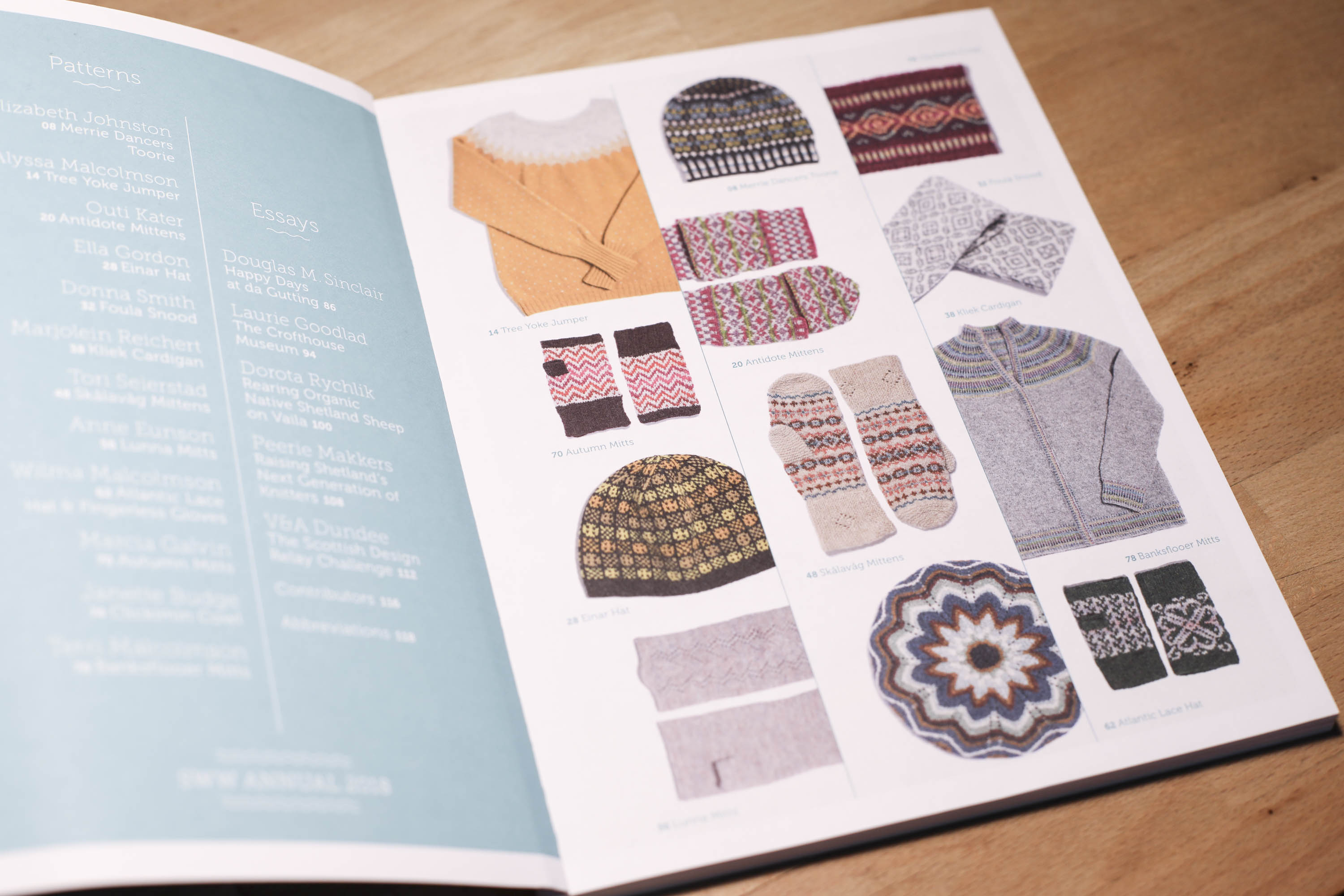 Shetland Wool Week annual 2018, open at page showing 12 patterns included