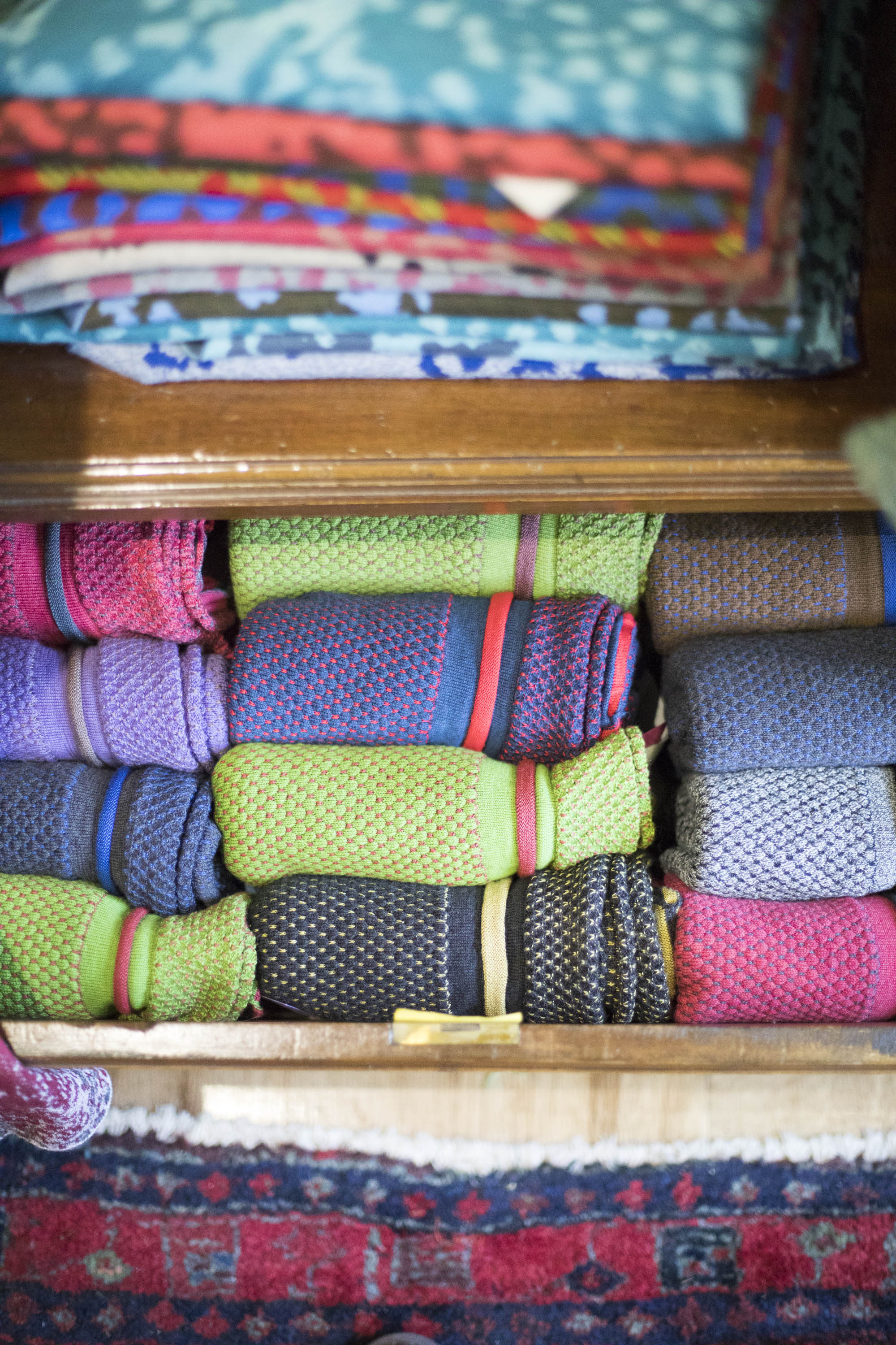 Interesting use of colour in knitwear at the Nielanell studio, Hoswick, Shetland. Contemporary, luxury Scottish knitwear.