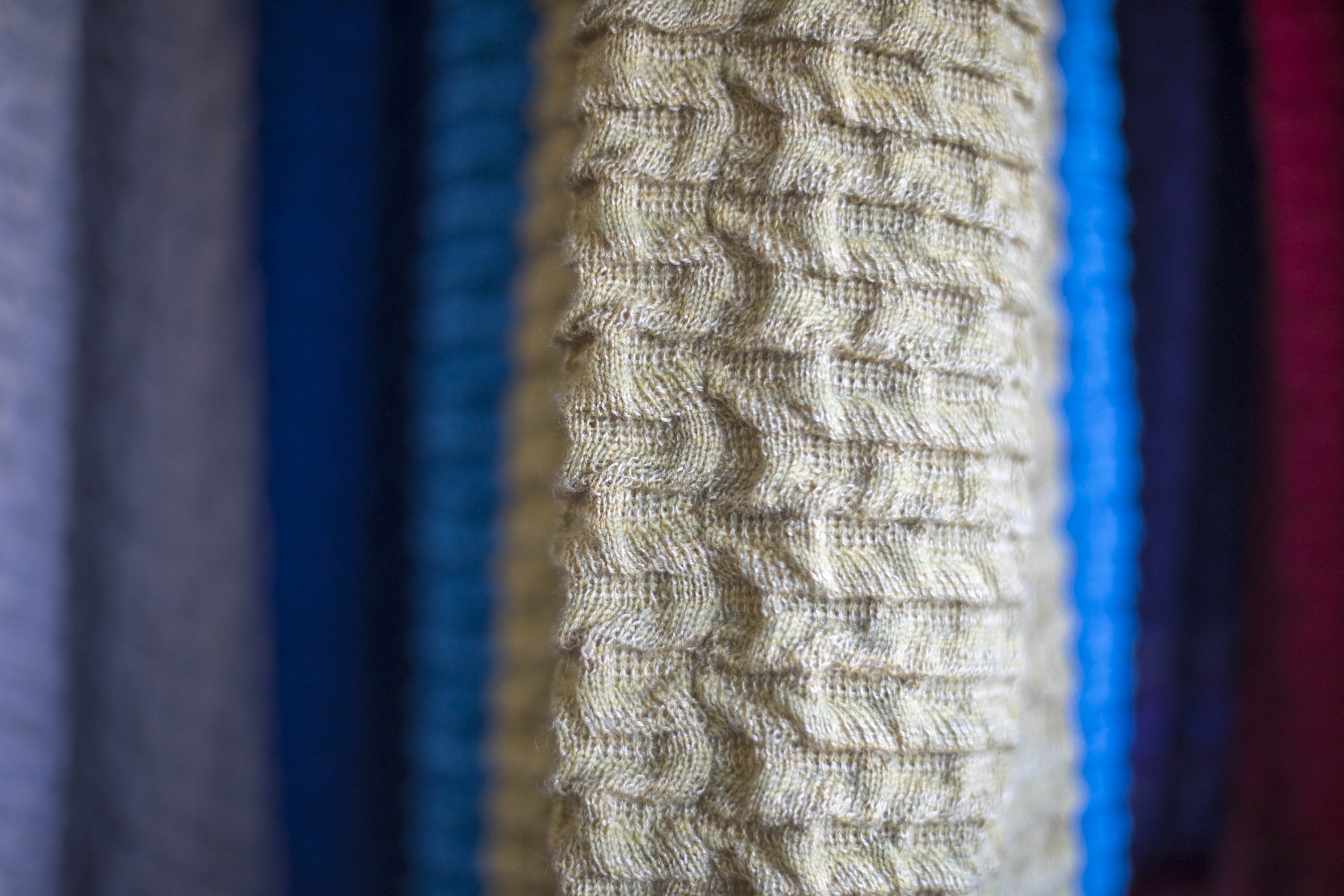 Close-up of Rigg Shetland knit textile in the Nielanell studio, Hoswick