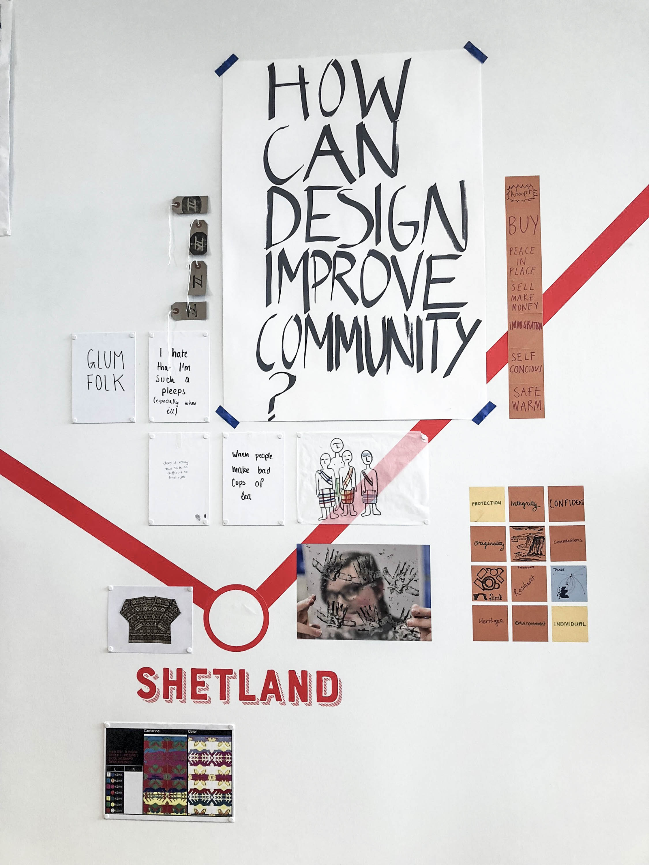 """Shetland exibit at V&A Dundee, for the Scottish Design Relay - Poster says """"How can design improve community"""""""