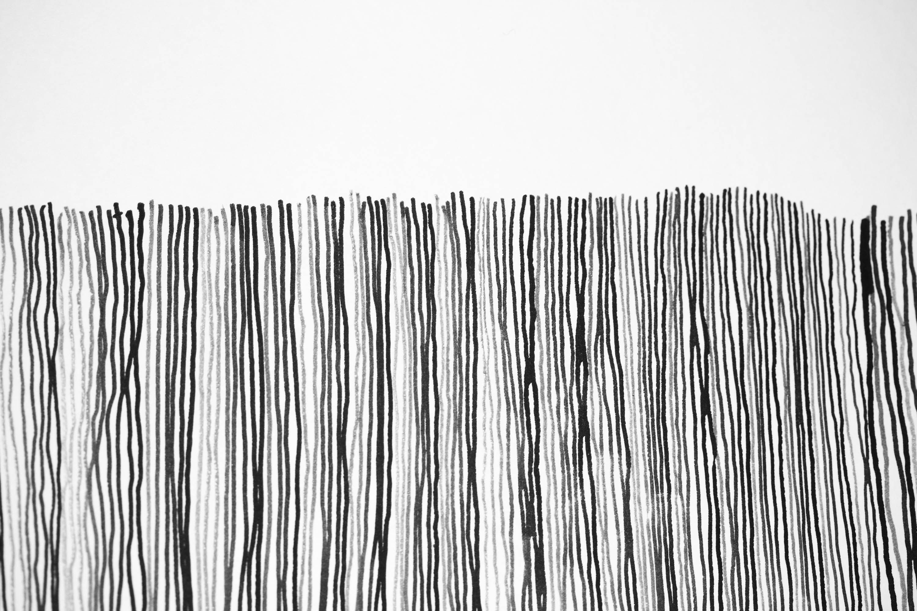 Inklines drawing - simple ink lines arranged vertically. Inspired by a visit to Ness of Brodgar, Orkney