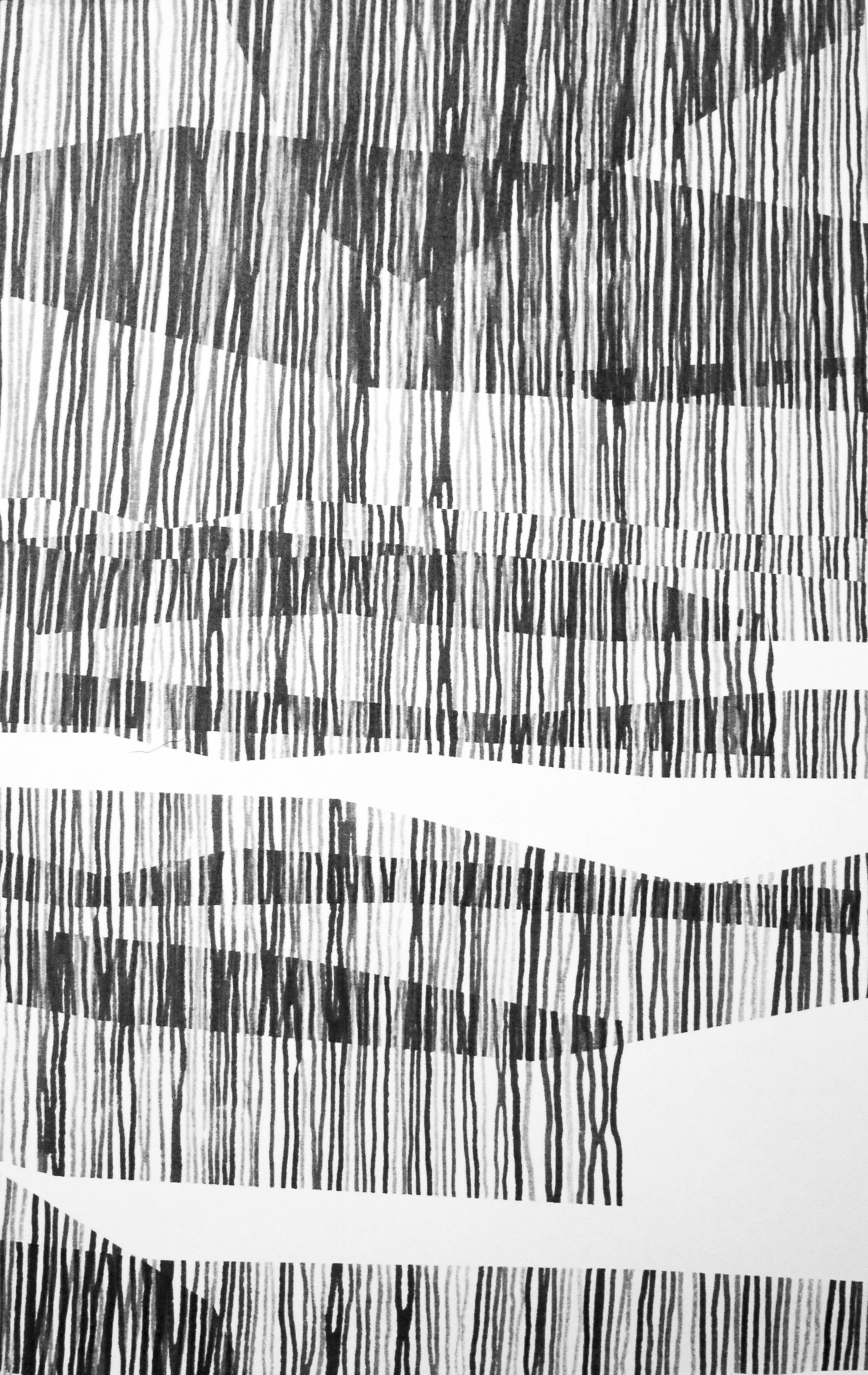Abstract pattern made up of irregular vertical lines, overlapping to create shapes, and sitting alongside negative space.