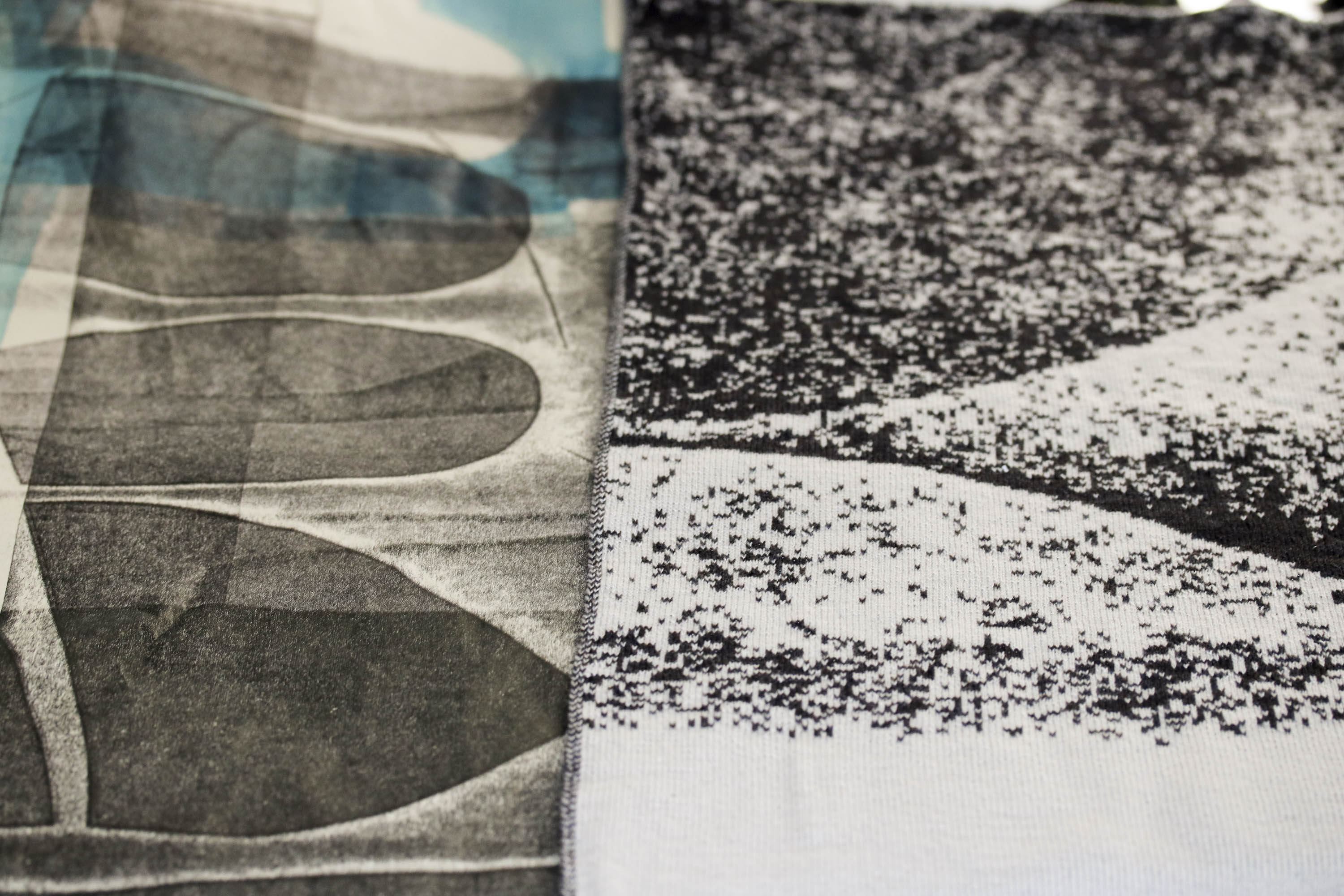 Abstract monoprint with abstract textile swatch of the same design - wearable art from Scotland, designed by Nielanell