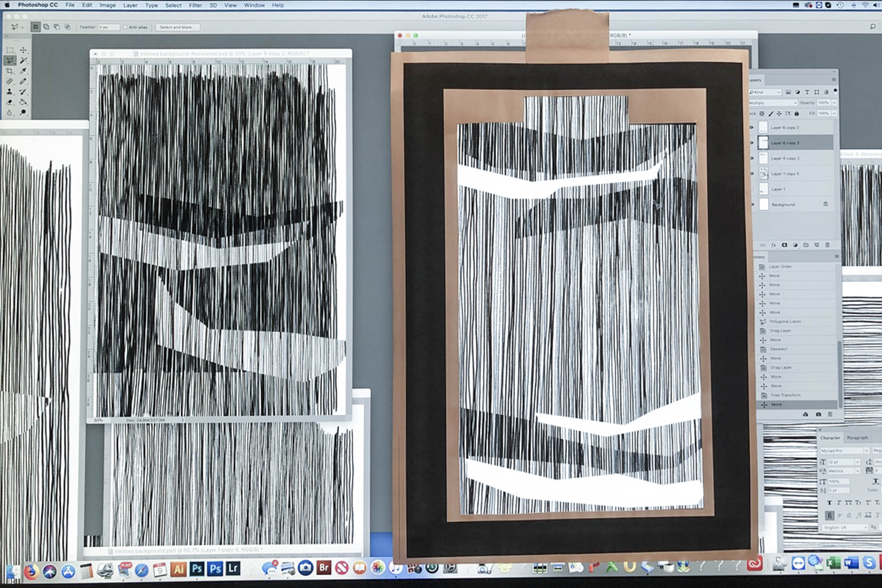 Design process of a textile and knitwear collection. Morifs are pinned to a screen