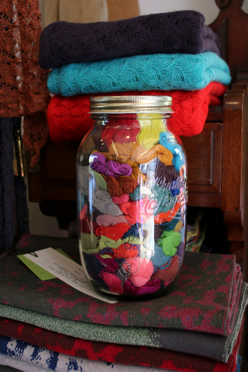 Cloos of yarn in a jar at the Nielanell studio, Hoswick
