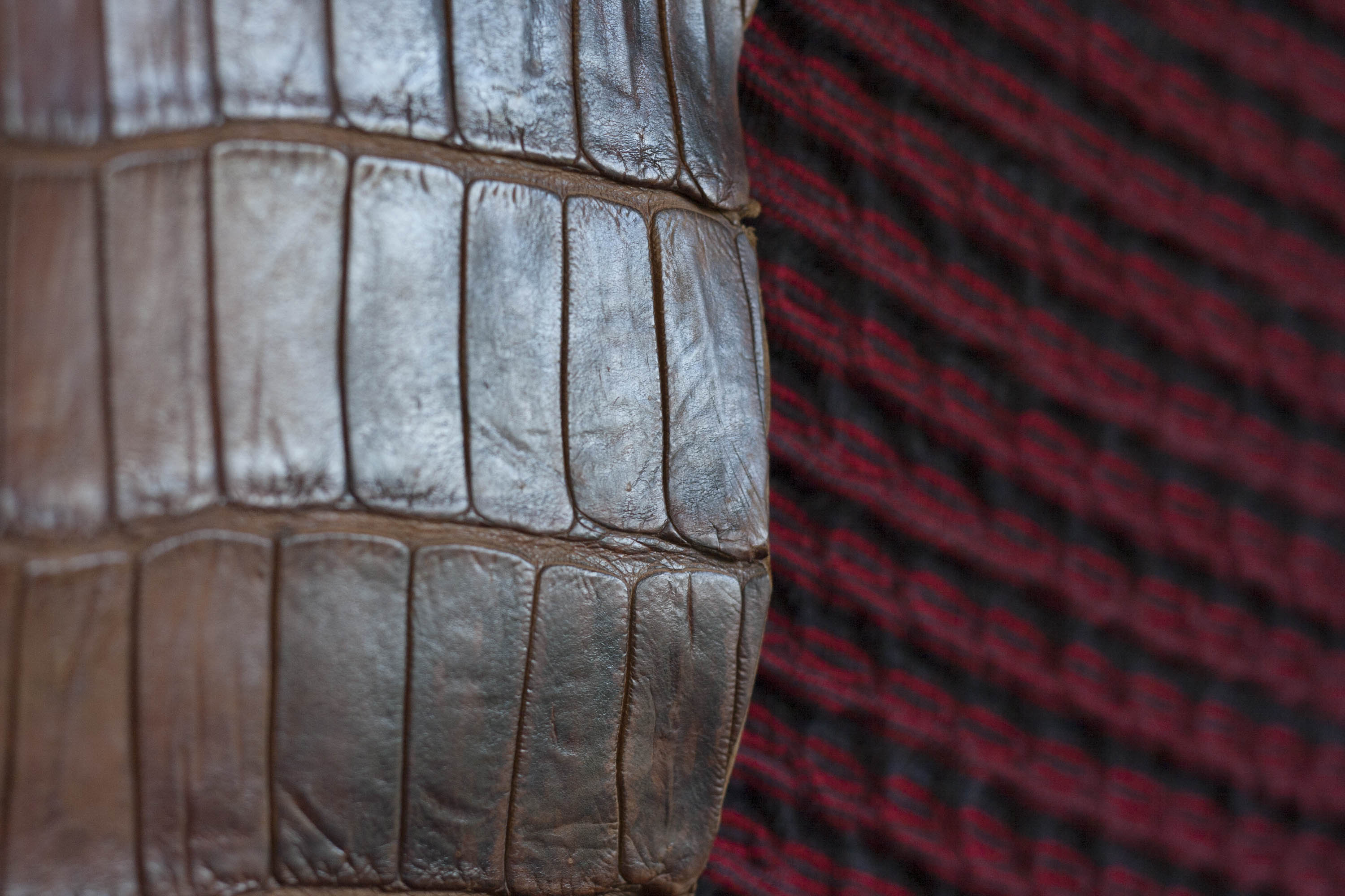 Crocodile leather and knitted textiles in the Nielanell studio, Hoswick, Shetland