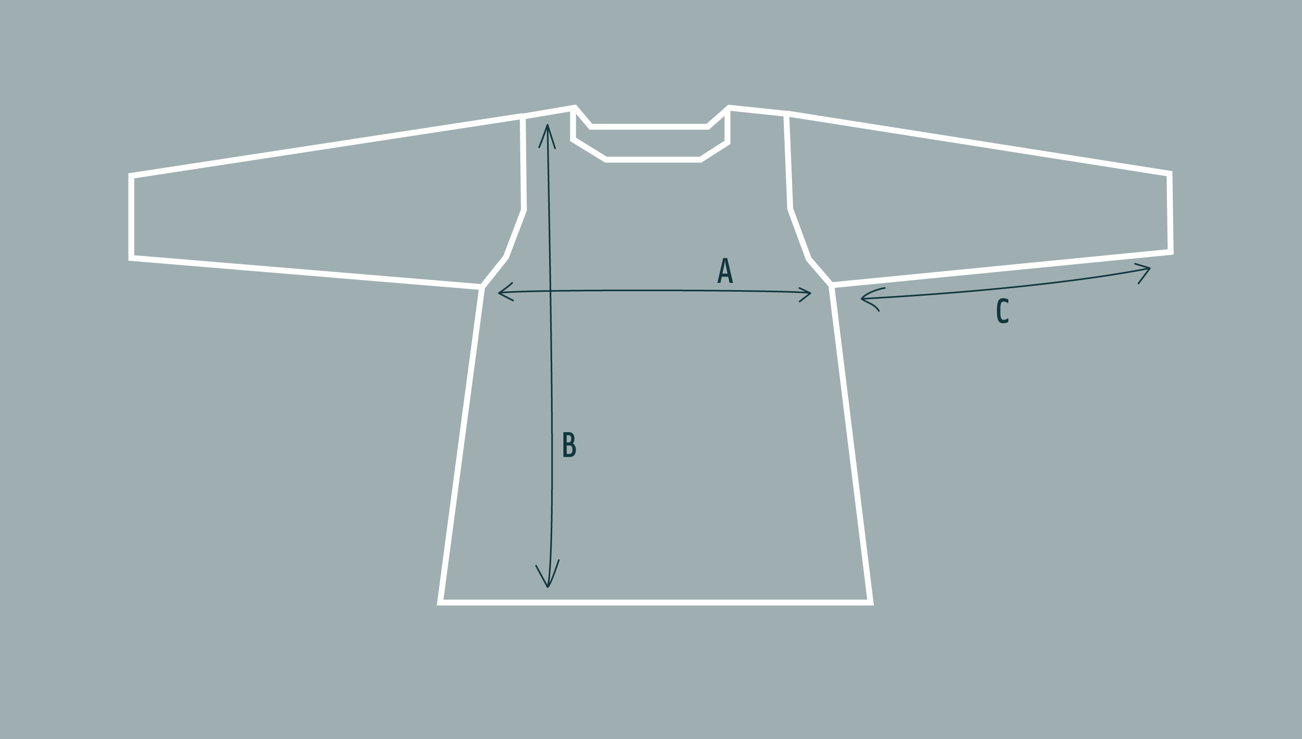 Digram of jumper to illustrate length, sleeve length and chest width.