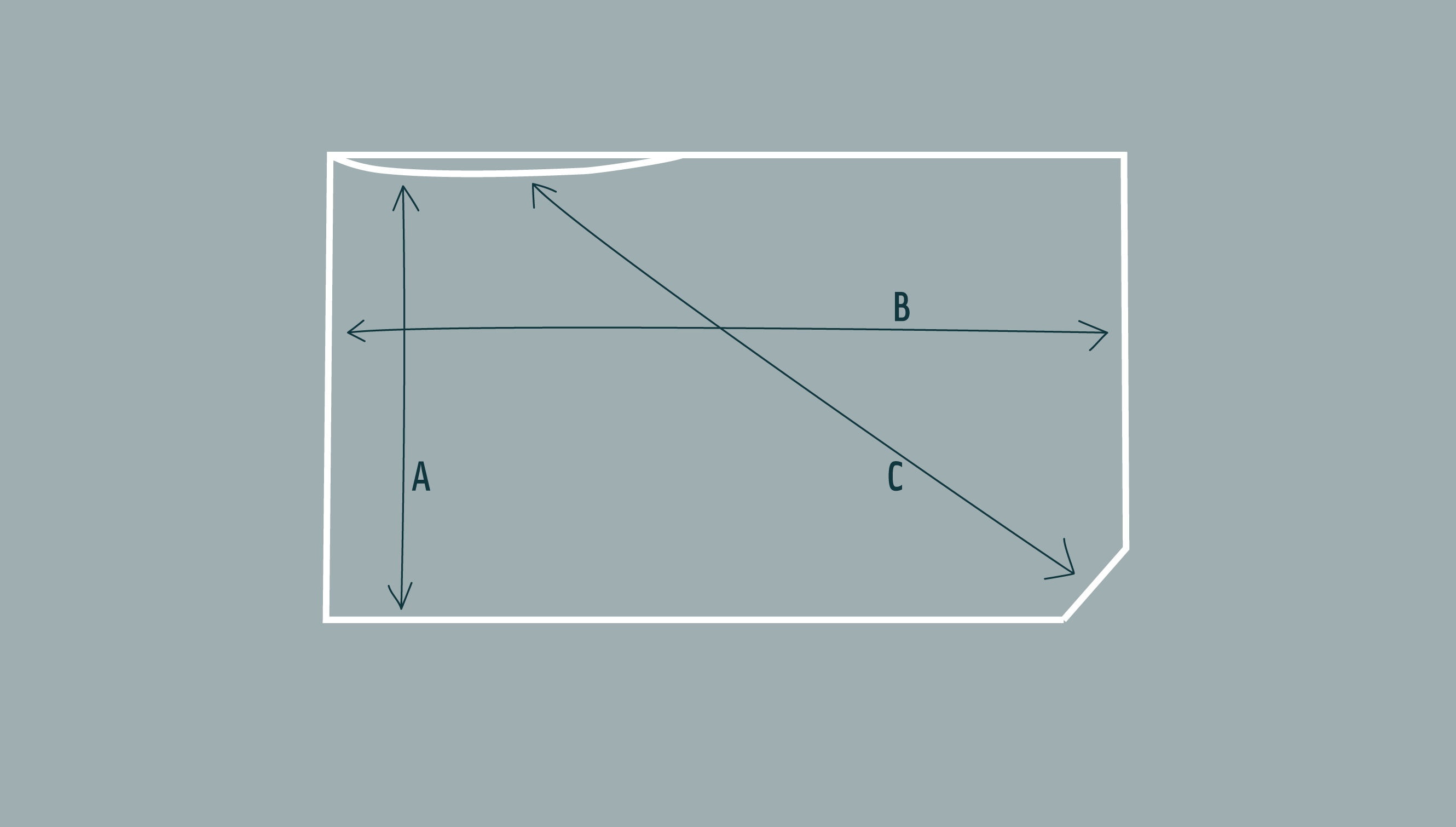 Diagram of knitted poncho showing dimensions at longest and shortest points
