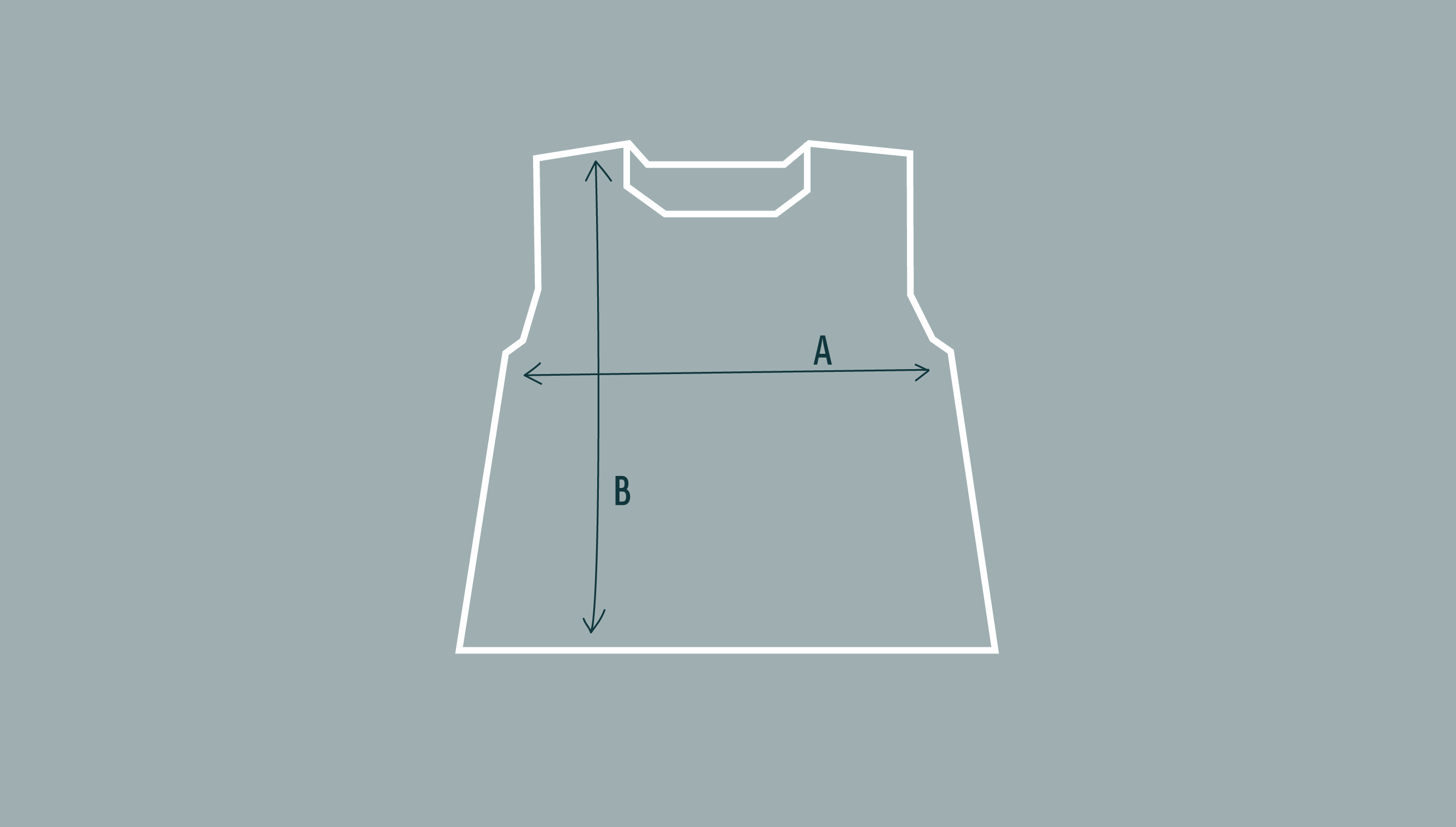 Diagram to measurements and shape of sleeveless jumper