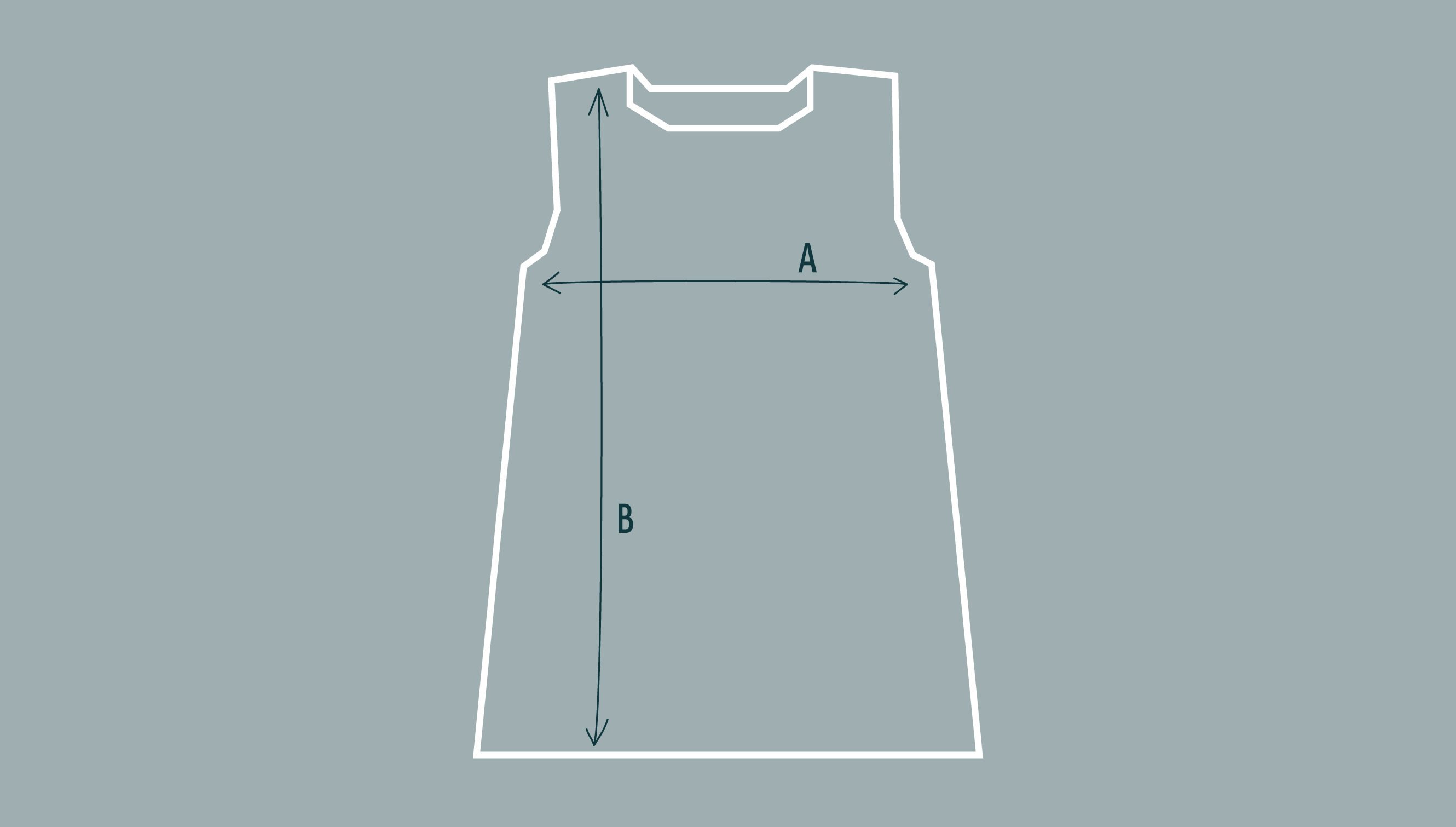 Diagram to illustrate shape and measurements of sleeveless tunic
