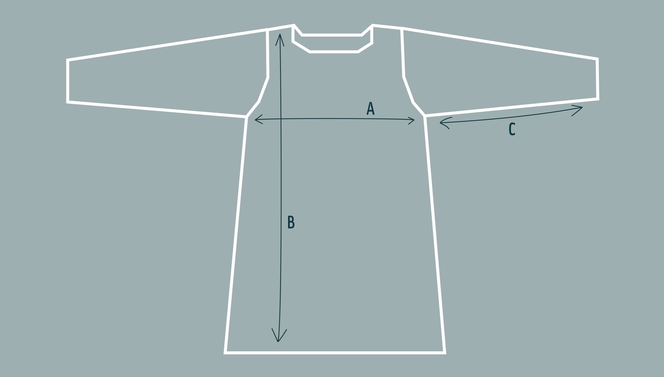 Diagram to illustrate shape and dimensions of tunic