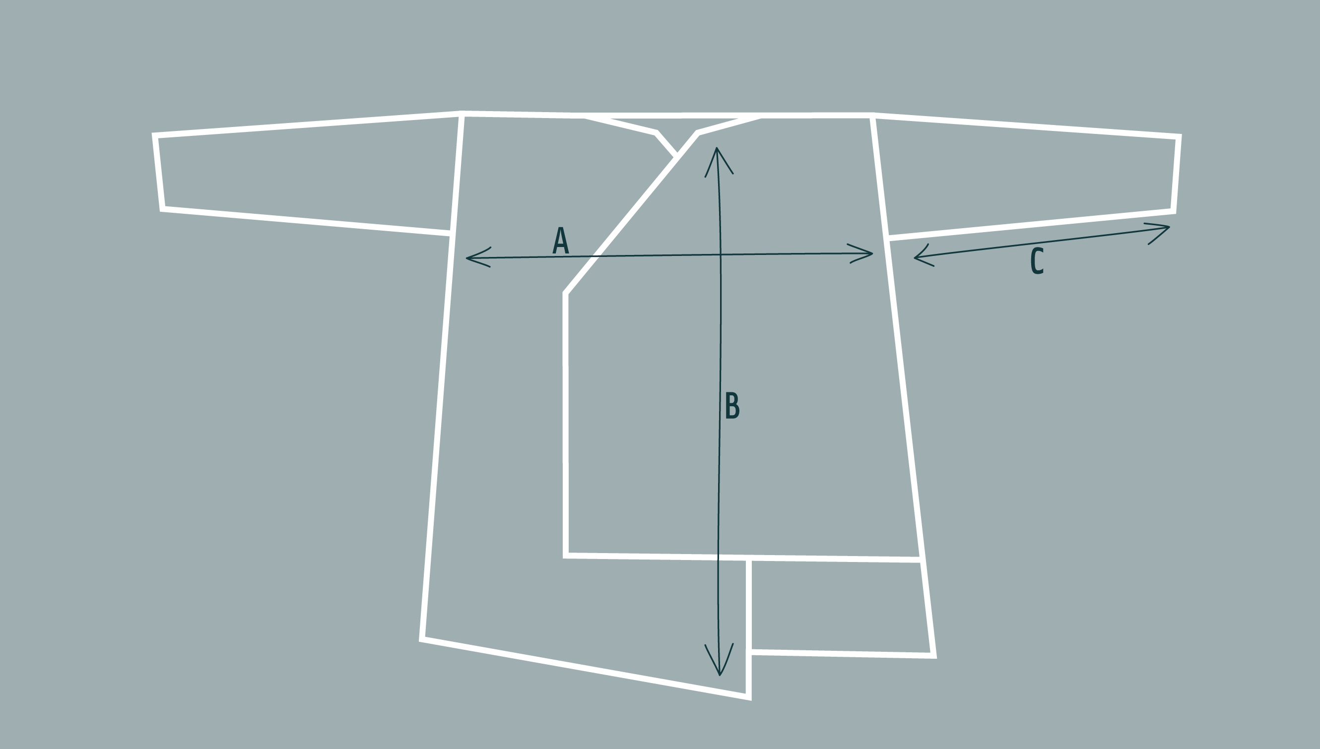 Inklines asymmetric coatigan jacket - diagram to show dimensions and shape