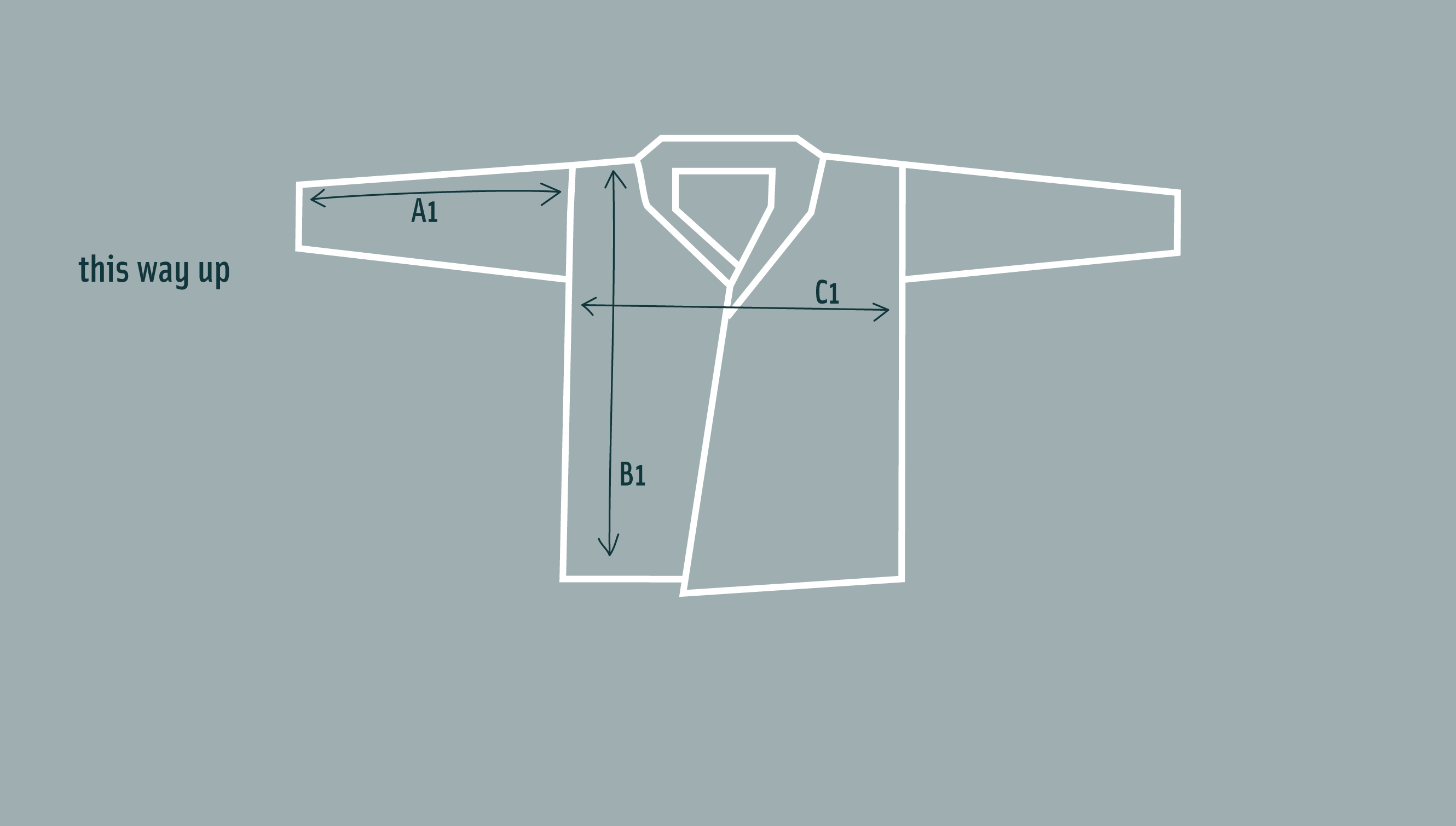 Diagram of rigg long vaarie jacket laid flat to show shape